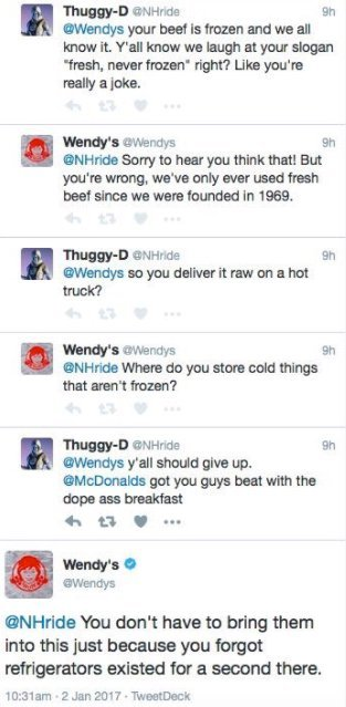Twitter Wendy's example