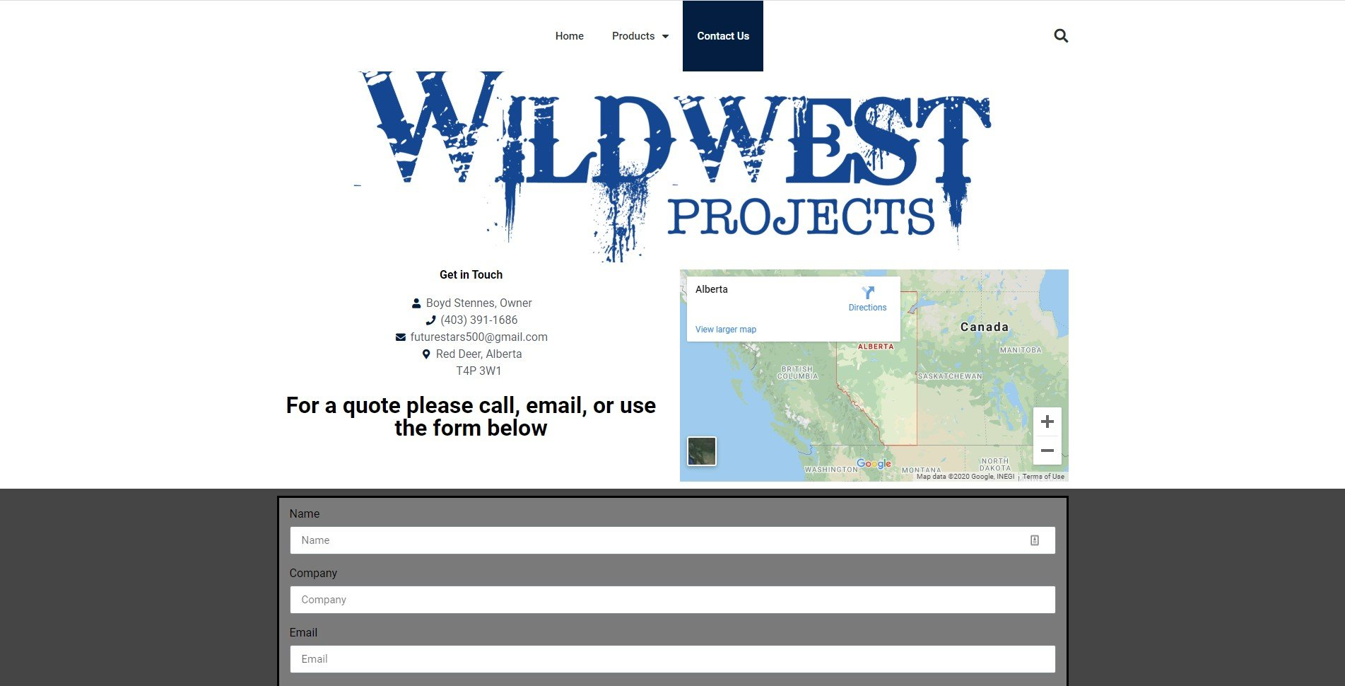 Wild West Projects contact page