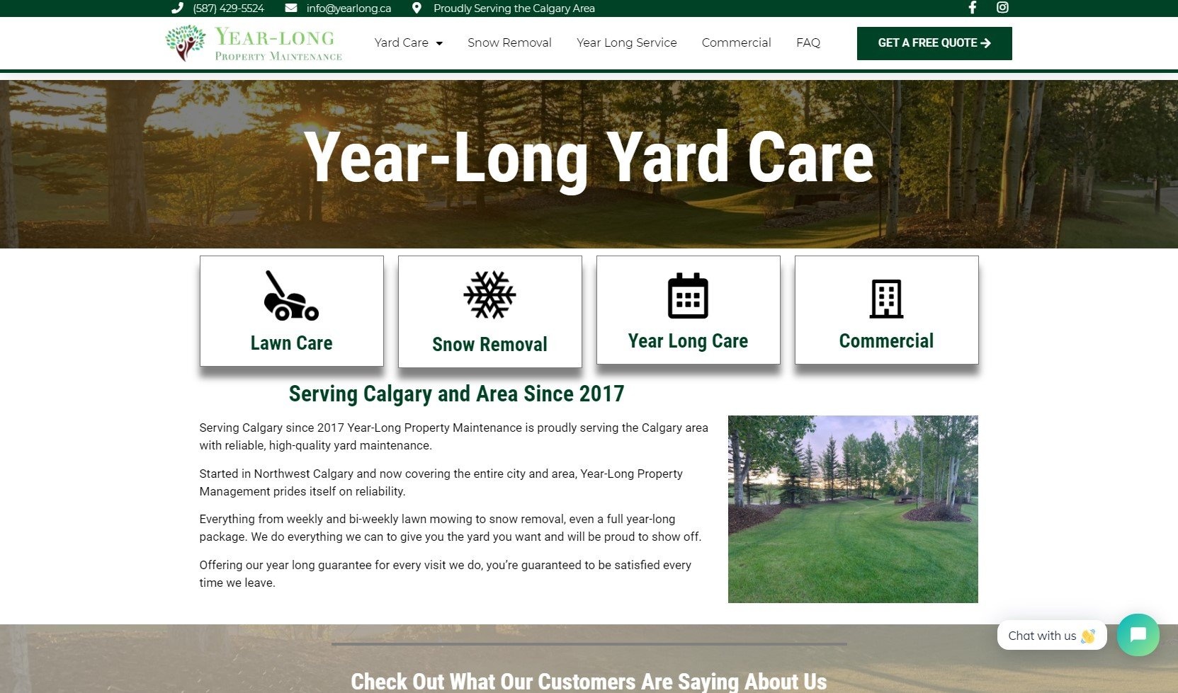 Yearlong Home Page Screenshot